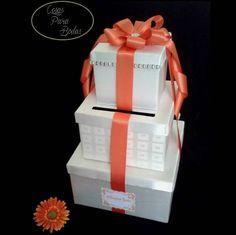 CA_187 Caja para Sobres  Ivory Naranja, Personalizada #bodas