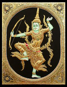 Tanjore painting (Tamil: தஞ்சாவூர் ஓவியம், Thanjavur Oviyam) is a major form of classical South Indian painting from the town of Thanjavur (anglicized as Tanjore) in Tamil Nadu, India. The art form dates back to about 1600 AD, a period when the Nayakas of 3d Art Painting, Online Painting, Leaf Paintings, Mysore Painting, Tanjore Painting, Skin Drawing, Texture Drawing, Wonder Art, Indonesian Art