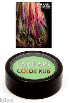 Hair Flairs Color Rub, Temporary Vibrant Fun Hair Colors .14 oz. (green) LMS