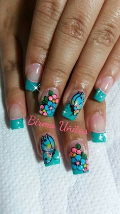 Modern Nail Art Designs that Are Too Cute to Resist Fingernail Designs, Diy Nail Designs, Cute Nail Art, Cute Nails, Rodeo Nails, Fingernails Painted, Wow Nails, Butterfly Nail Art, Finger Nail Art