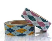 Argyle Pattern Paper Tape - Pink Yellow ( set of 2 cuties ) NEW- etsy