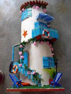 casetta al mare Clay Houses, Ceramic Houses, Miniature Houses, Decoupage, Clay Fairy House, Diy And Crafts, Arts And Crafts, Clay Fairies, Ceramic Coasters