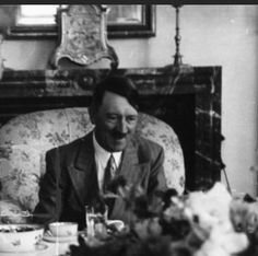 August 16, 1939 at the Obersalzberg Teehaus. This was a celebration of the 25th anniversary of Hitler's military service, beginning in WWI. With him this day were Eva Braun, the Hoffmann's, the Brandt's and his old comrade from World War I, Max Amann. (via putschgirl)