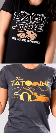 """Get used to hearing, """"Where'd you get that shirt? I love it!"""" """"Come to the Dark Side.  We Have Cookies"""" and """"Visit Tatooine"""" graphic t-shirt for men, women and kids. Whether you're looking to upgrade your t-shirt collection or need a clever gift for someone special, SnorgTees is a must."""