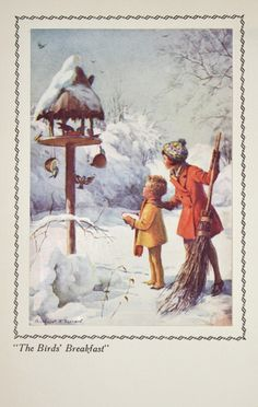 Vintage   Snowy Winter Morning, Two Children with Christmas Birds