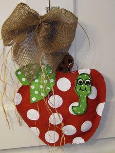 Apple With Worm Burlap Door Hanger Natural Burlap by nursejeanneg