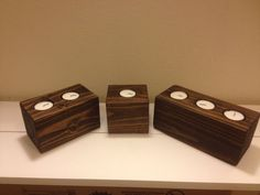 Awesome Wood Candle Holders with Tea Light Candles.  These Wooden Candle Holders are rustic and beautiful!