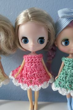 3 Pack Of Crochet Cupcake Petite Blythe Dresses por bearlydressed