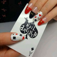 Red black and white card nailart #nailart #nails #black #white #red #black #cards