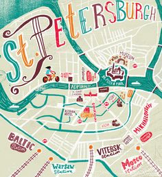 Travel illustrations by Migy - St Petersburg map
