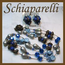 Vintage SCHIAPARELLI Necklace & Earrings w/ Cobalt Crystals, Grey Teardrop Glass Pearls, Rhinestone Rondelles, Art Glass & Filigree  Necklace & Earrings