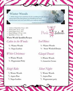 Love the smell of Christmas? Enjoy it all year with Pink Zebra Home Winter Woods! Enjoy it alone or mix it up for unique scents that make you smile. http://www.pinkzebrahome.com/prettylittlesprinkles