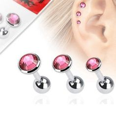 1,2mm Flat Piercing - 3 er Set Angebot Pink Tragus Piercings, Flat Piercing, Pink, Pearl Earrings, Flats, Pearls, Jewelry, Stones, Loafers & Slip Ons