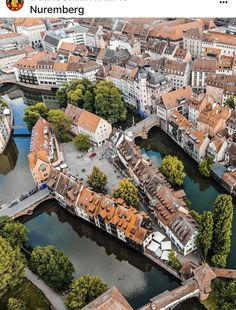Amazing how these small bridges connecting parts of Nuremberg together. What a beautiful view of Nuremberg from up… Nuremberg Germany, Bavaria Germany, Frankfurt Germany, Places Around The World, Around The Worlds, Travel Abroad, Germany Travel, Landscape Photos, Aerial View