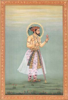 Shah Jahan, Mughal Miniature Painting On PaperArtist Kailash Raj Mughal Miniature Paintings, Mughal Paintings, Mughal Architecture, Art And Architecture, India Painting, Persian Pattern, Mughal Empire, Indian Artist, Paper Artist