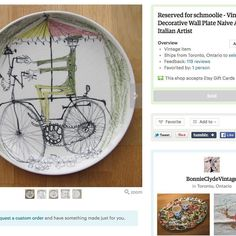 TEST IG Day 11/29 1st Listing/SALE #WeBeTest : This was my first Bonnie & Clyde Vintage sale. It's an Italian ceramic wall plate with a naively drawn man riding a bicycle.  I didn't know much about it when I found it but thought it was really neat.  I knew it was hand drawn and it was signed on the back Italy and had a flower symbol.  I did some research and found out that it's a mystery artist known as 'Flower Painter'. You can read an article with info here: http://ift.tt/1oC8heh  I think…