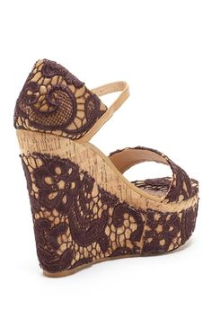 Brown Lace Wedge Sandal