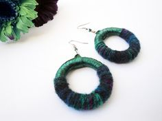 Handmade hoop earrings decorated with satin ribbon and mohair yarn in an ideal colorful combination!!! Big, rich and very impressive in a form that flatter womans neck. Colorful and playful to wear with your everyday wardrobe. Eco friendly. Made of high quality materials only!!!!!  ***We use metal nickel free hooks in all our earrings!!! Rubber stoppers included  (Length from earlobe: 7.5cm or 3in).  PACKAGING: All our jewelry come to a gift package and wrapped in bubble wrap to prevent any…