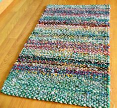 Recycled Bluejeans & fabric Twined Rag Rug by KarenDriscollWeaving