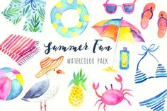 Summer Beach Party Watercolor Pack by PaperSphinx on @creativemarket