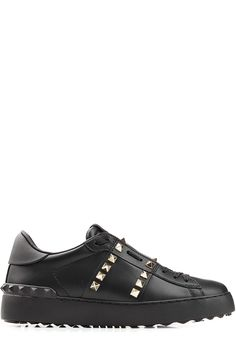 VALENTINO Leather Untitled Rockstud Sneakers. #valentino #shoes #sneakers