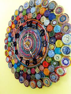 Rolled Paper Wall Clock Recycled Magazine by AnchorofHopeDesigns Recycled Paper Crafts, Recycled Magazines, Newspaper Crafts, Recycled Crafts, Recycled Jewelry, Art Quilling, Quilling Ideas, Rolled Paper Art, Magazine Crafts
