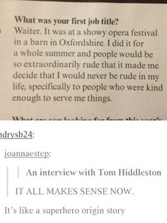 Tom is a superhero. I accept this.