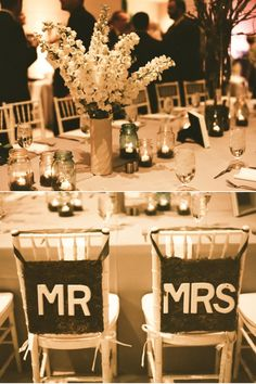 mason jars with tea lights, simple but beautiful, you can never have too much light! & love the Mr & Mrs backs for the chairs!