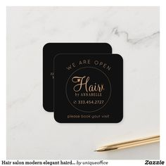 Hair salon modern elegant hairdresser black appointment card Unique Office Supplies, Appointment Card, Hair Spa, Elegant Business Cards, Get The Job, Zazzle Invitations, Brand You, Hairdresser, Salons