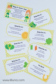 St. Patrick's Day Treasure Hunt with free prints - the kids will LOVE this! { lilluna.com }
