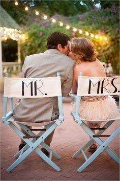 mr and mrs directors chairs #roaring20wedding #mrandmrssigns #weddingchicks http://www.weddingchicks.com/2014/01/02/easy-roaring-20s-wedding-ideas/