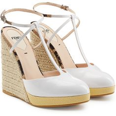 Fendi Patent Leather T-Strap Wedges
