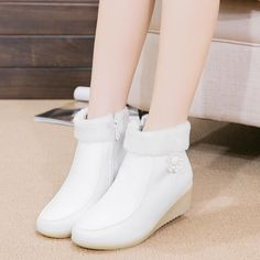 (Buy here: http://appdeal.ru/urs ) Nurses Shoes Leather White Short Boots Shoes…