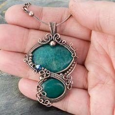 Everglade Copper Pendant- Jade, copper wire, swarovski crystals