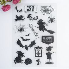 14x21cm New Scrapbook DIY Photo Album Cards Transparent Acrylic Silicone Rubber Clear Stamps Sheet Halloween is Fun