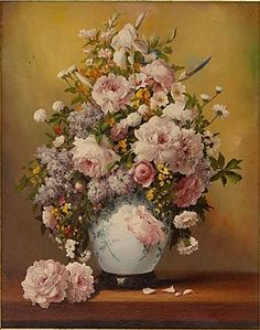 """✨ UNBEKANNTER KÜNSTLER, Öl auf Leinwand, """"Blumenstilleben in Vase"""", unten rechts signiert """"P. Rizzo"""", ca. 30 x 24cm"""