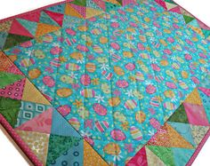 Easter Quilted Table Runner, Pastel Easter Egg Table Topper, Spring Table Mat, Quiltsy Handmade