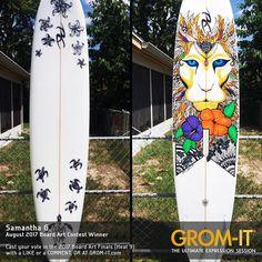New August Contest entry from Samantha G. Skate Art, Surfboard Art, Surf Art, Wakeboarding, Art Boards, Surfing, Creative Art, Ocean Heart, Artist