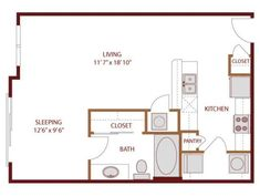 569 sq ft studio apartment layout *** I like the galley kitchen but would need more counter space by the stove....