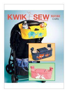 Kwik Sew pattern K4184. Rabbit, Fox and Elephant Stroller Organizer Bags