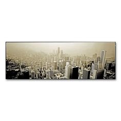 Chicago Skyline 12 x 32 Canvas Wall Art by Preston, Grey