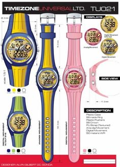 Time Zone Universal  LTD. Watches  designed by: Alvin Gilbert Dc. Gonda  abugonda@yahoo.com Design Development, Digital Watch, Behance, Graphic Design, Watches, Concept, Wristwatches, Clocks, Visual Communication