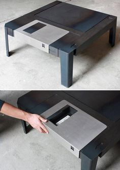 Floppy Disk Table :: So cute! I want two small side tables for Steve's Man Cave. I love that hidden compartment.