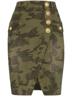 Image 1 of Balmain camouflage wrap denim mini skirt Camo Outfits, Skirt Outfits, African Fashion Dresses, Fashion Outfits, Fashion Hacks, Style Fashion, Girl Fashion, Fashion Tips, Denim Mini Skirt