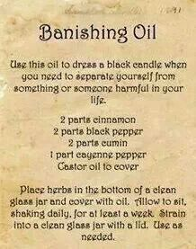 DIY Banishing Oil Recipe from Mrs.'s Guide to Household Witchery. Need to add this to your Book of Shadows Wiccan Witch, Magick Spells, Healing Spells, Curse Spells, Real Spells, Banishing Spell, Kitchen Witchery, Witch Spell, Book Of Shadows