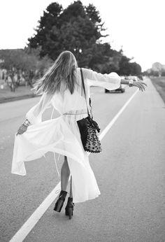 black and white fashion photo, white maxi let your hair down