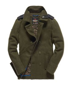 Mens - Bridge Pea coat in Army | Superdry