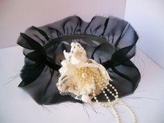 natalie briggs couture black chiffon lace garter