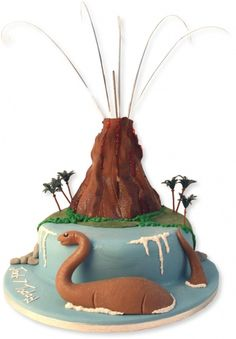 Dinosaur/volcano cake