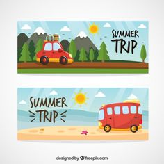 Cute hand drawn summer trip landscape banners Free Vector